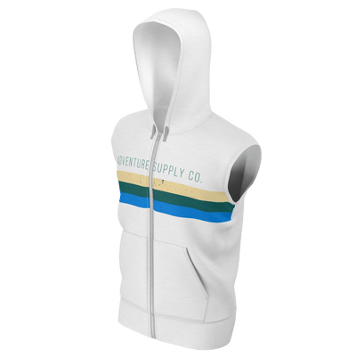 Men's White w/Gray Adventure Supply Co. Lake Tahoe Sustainable Sleeveless Zip-Up Hoodie - Find Your Coast Supply Co.
