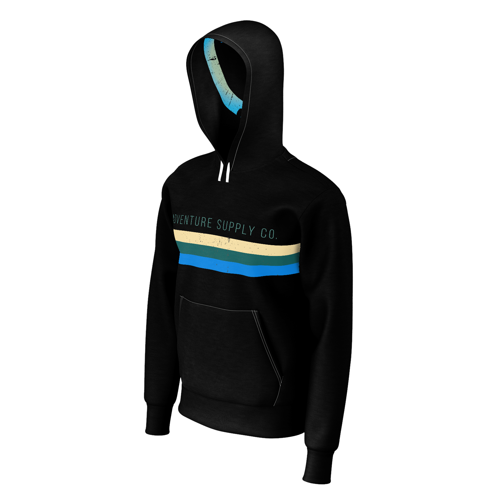 Men's Adventure Supply Pullover Sustainable Black Hoodie - Find Your Coast Supply Co.
