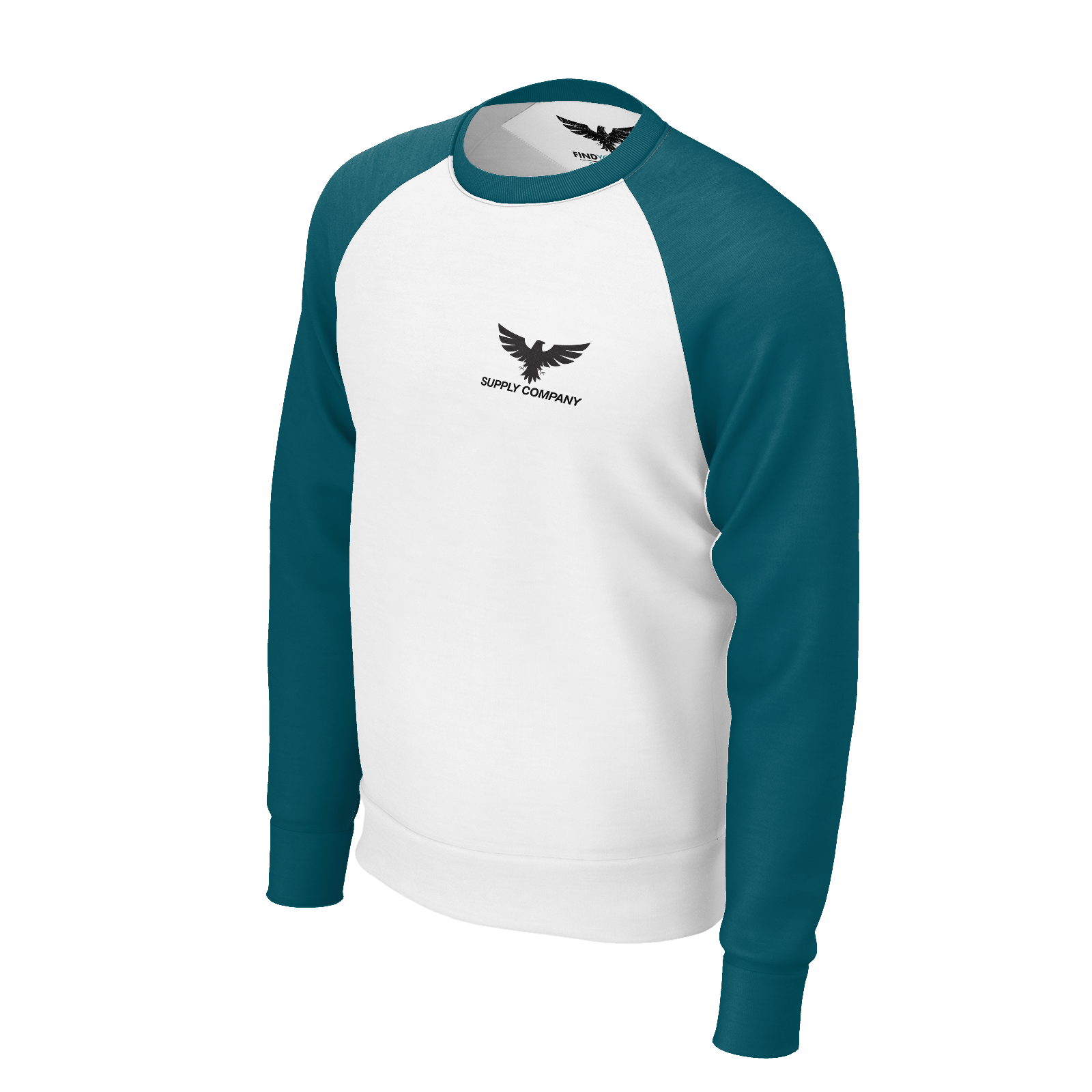 Men's Fishing Supply Co. Sustainable Crewneck Raglan Sweatshirt Long Sleeve - Find Your Coast Supply Co.