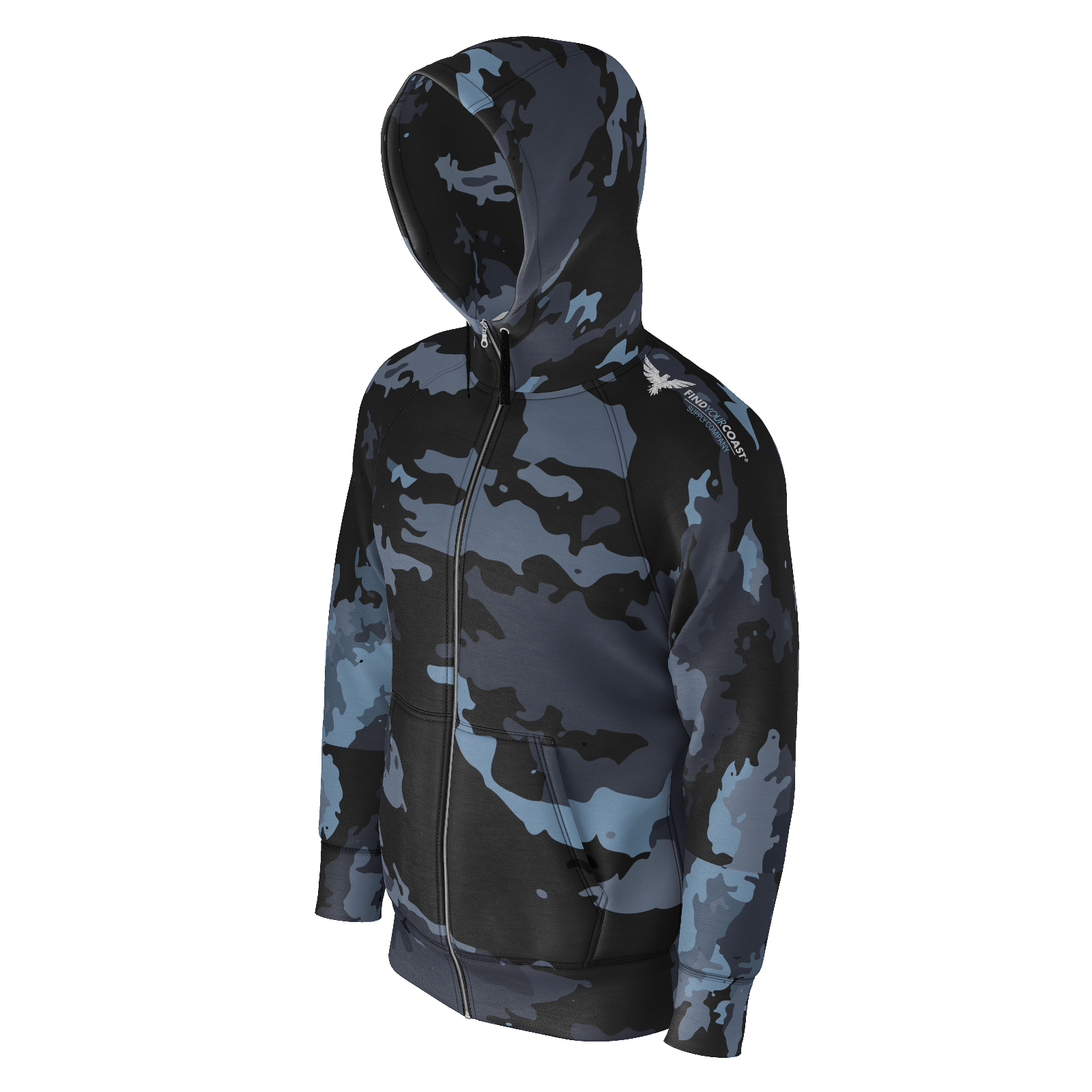 Men's Find Your Coast Camo Sustainable Zip-Up Hoodie Sweatshirt - Find Your Coast Supply Co.