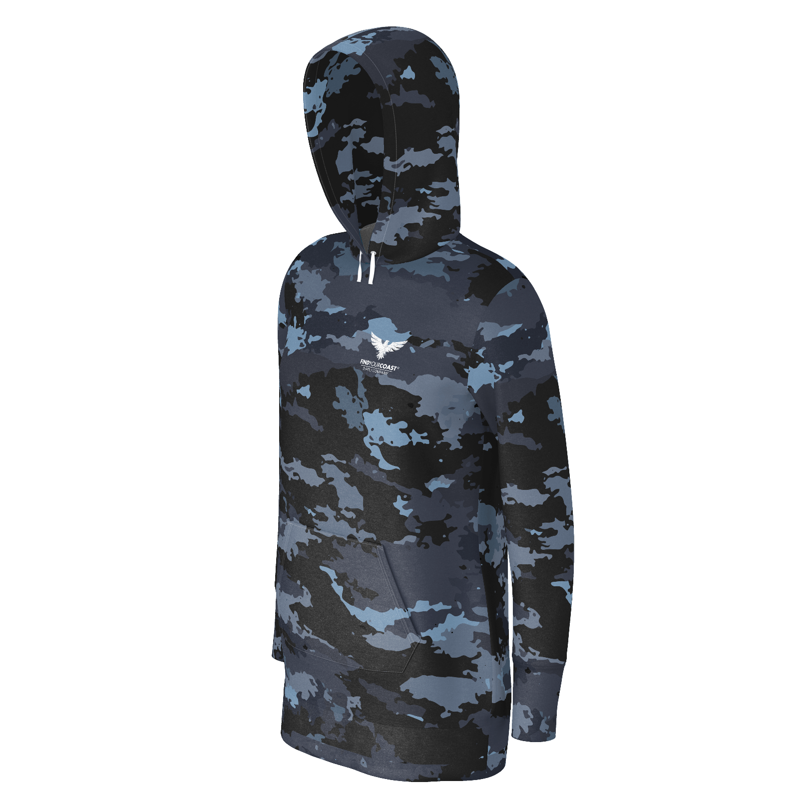 Women's Supply Co. Coast Camo Long Body Sustainable Pacific Coast Pullover Hoodie Dress - Find Your Coast Supply Co.