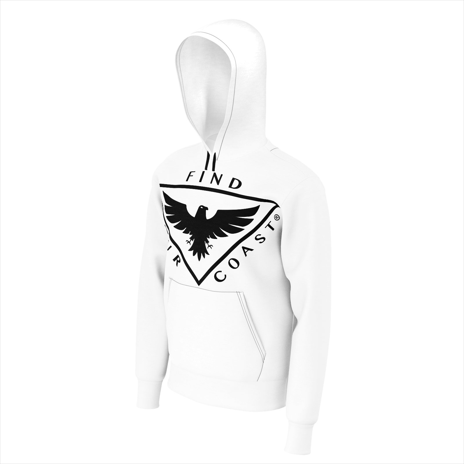 Men's FYC Triad White Sustainable Sweatshirt Hoodie - Find Your Coast Supply Co.