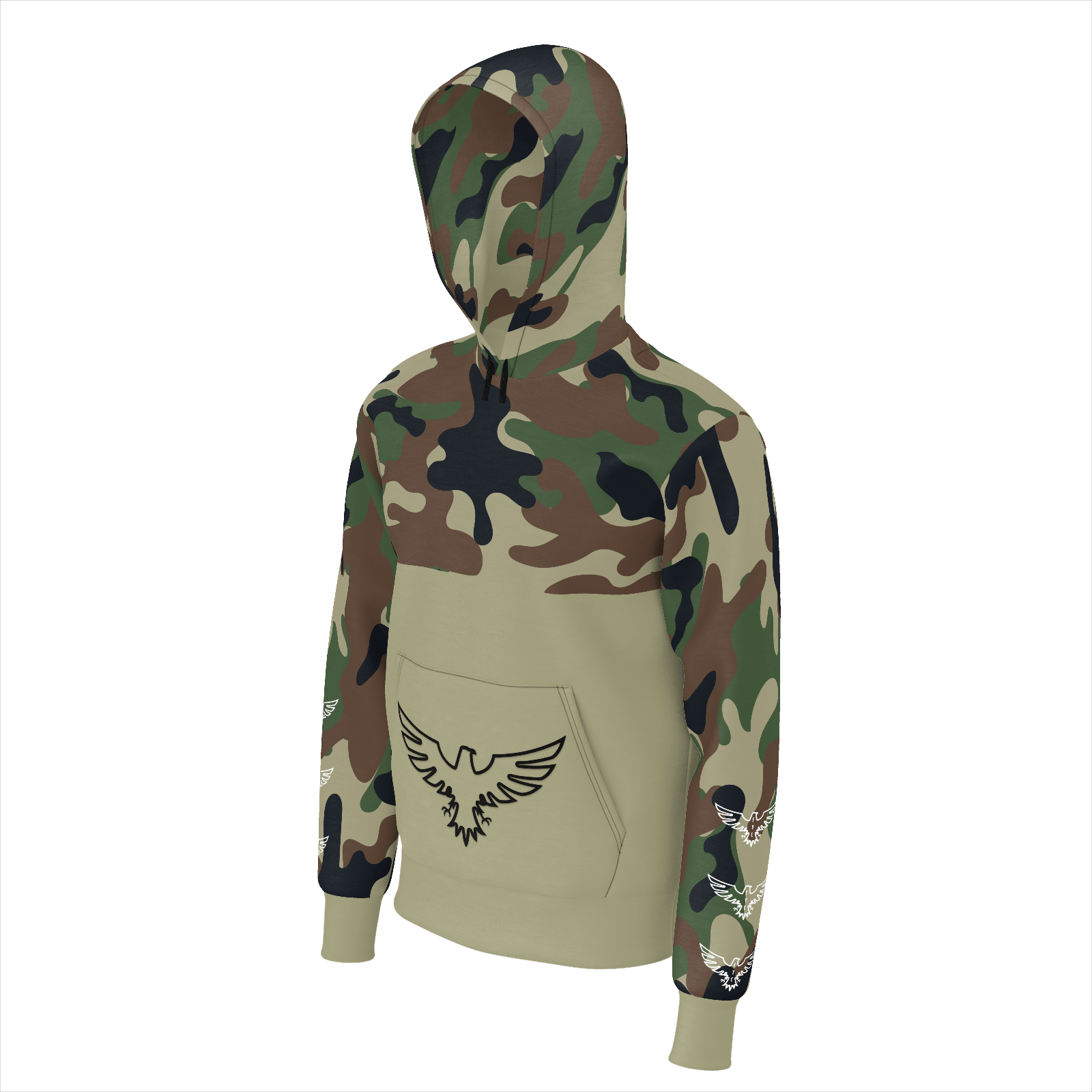 Men's Half Camo Long Sleeve Sustainable Pullover Hoodie