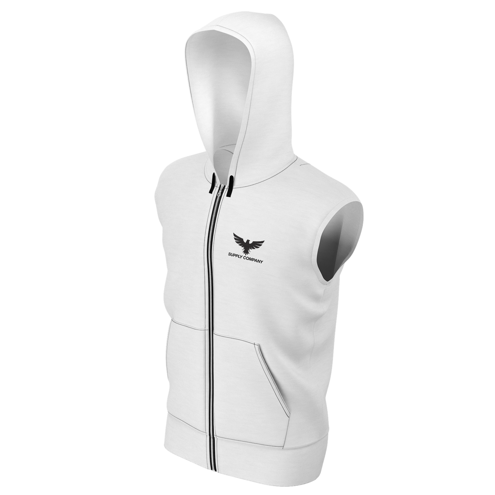 Men's Supply Co. White w/Black Sustainable Sleeveless Zip-Up Hoodie - Find Your Coast Supply Co.
