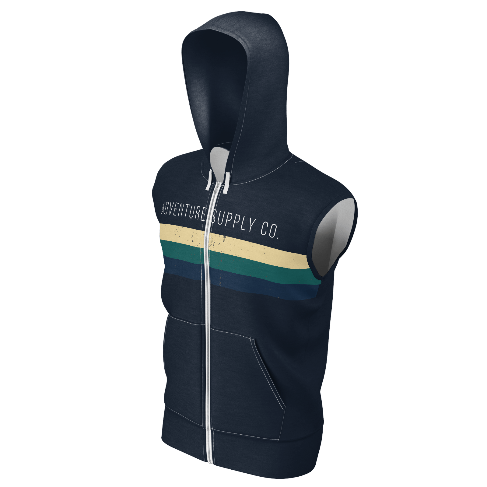 Men's Adventure Supply Co. Navy w/White Sustainable Sleeveless Lake Tahoe Zip-Up Hoodie - Find Your Coast Supply Co.