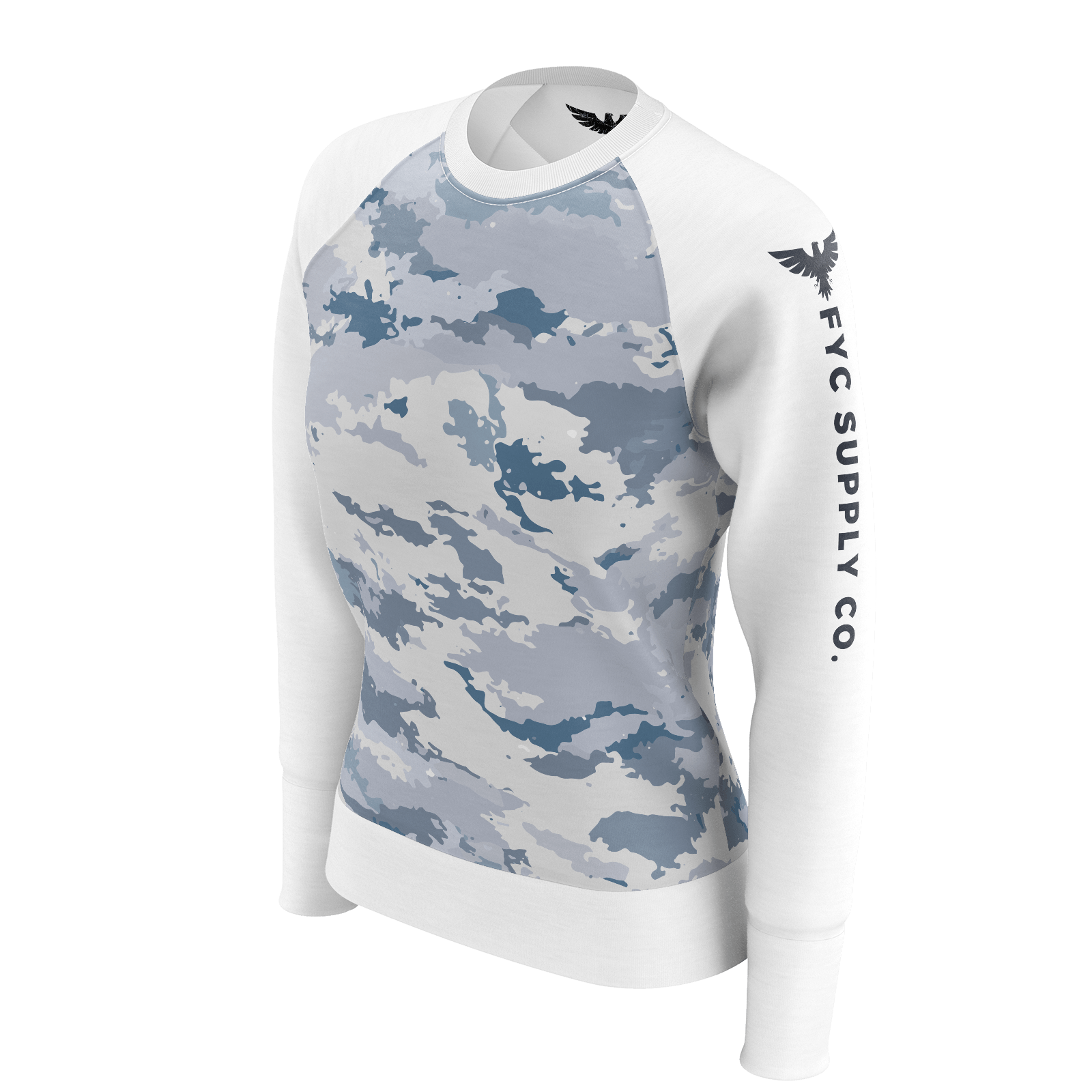 Women's Supply Co. Coast Camo White Sustainable Raglan Sweatshirt - Find Your Coast Supply Co.