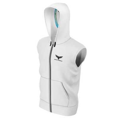 Men's Supply Co. White w/Black Sustainable Lake Tahoe Sleeveless Zip-Up Hoodie - Find Your Coast Supply Co.