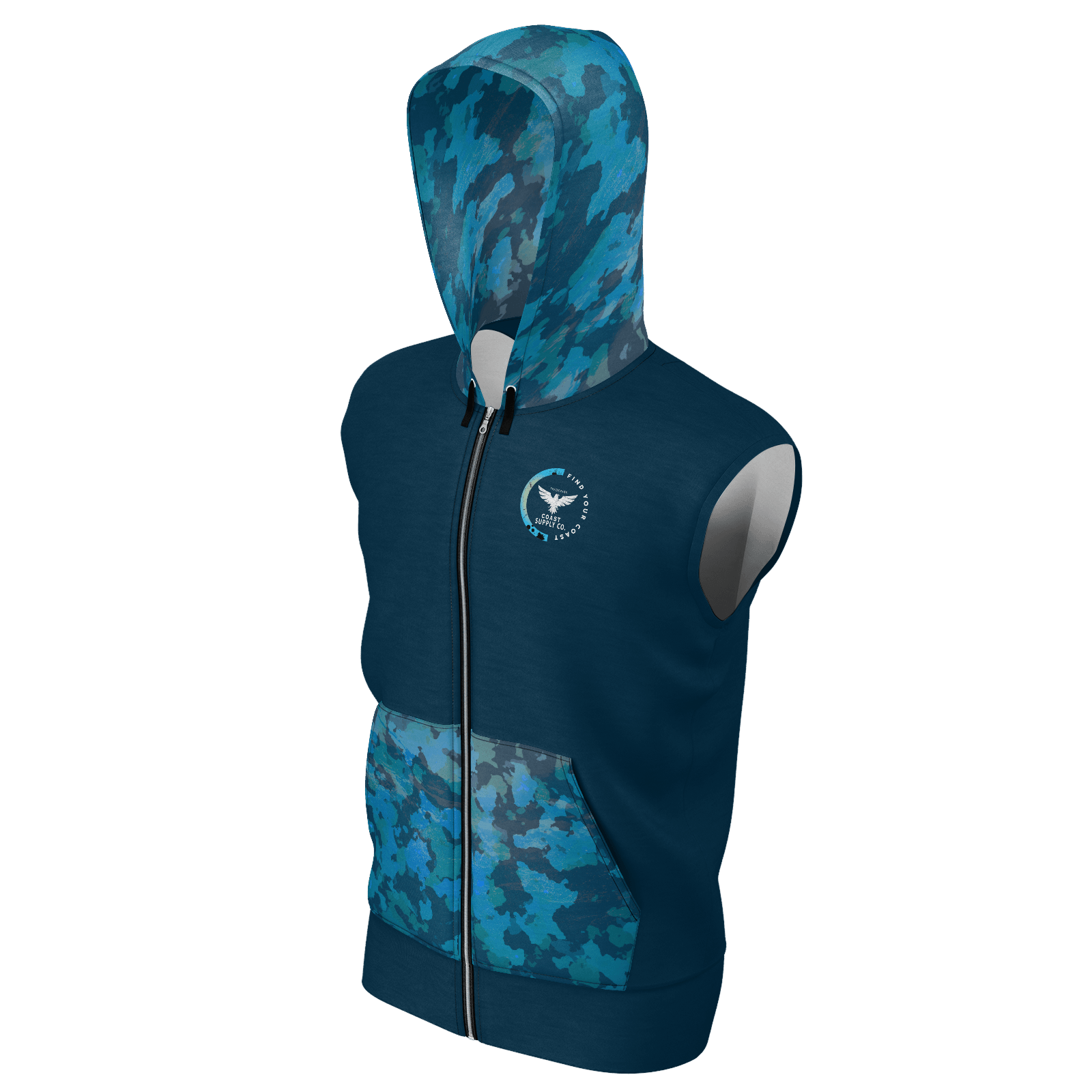 Men's Supply Co. Navy Ocean Camo Sustainable Lake Tahoe Sleeveless Hoodie - Find Your Coast Supply Co.