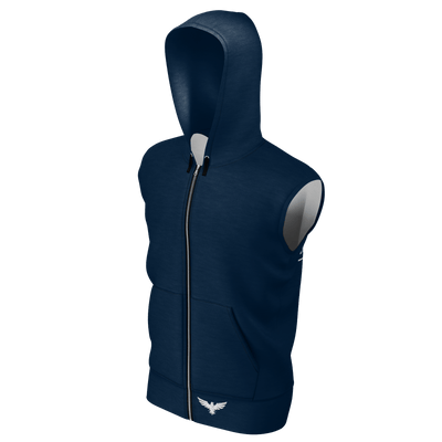 Men's Supply Co. Navy w/Black Sleeveless Sustainable Lake Tahoe Zip-Up Hoodie - Find Your Coast Supply Co.