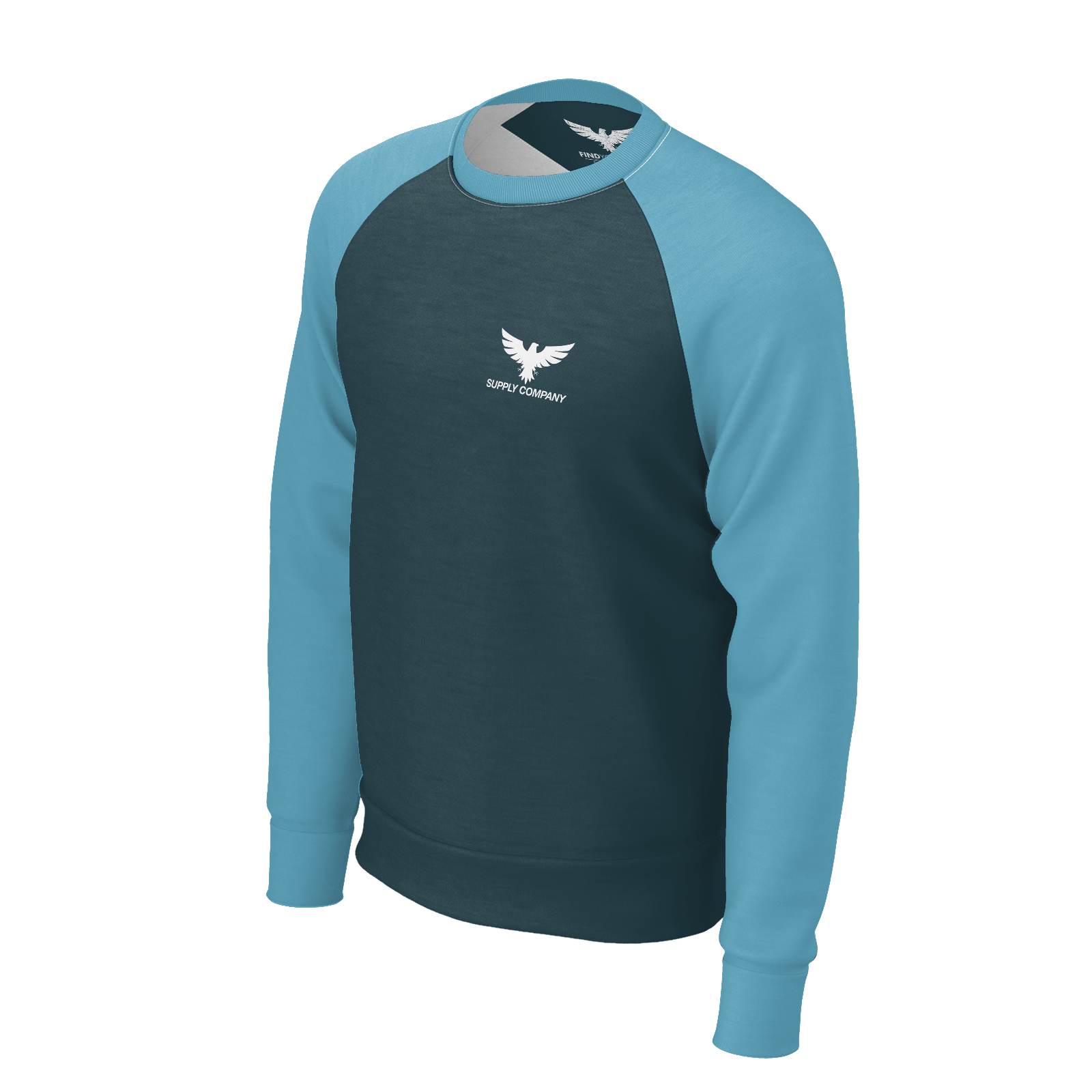 Men's Fishing Supply Co Sustainable Crewneck Raglan Long Sleeve - Find Your Coast Supply Co.