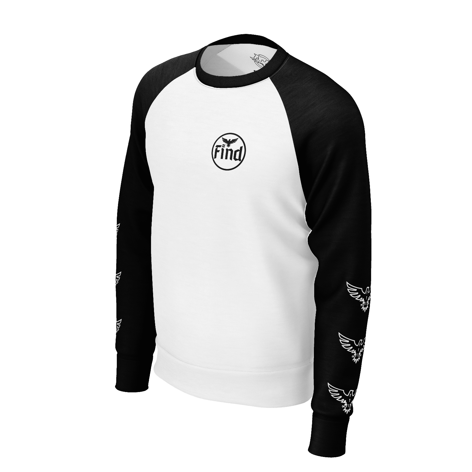 Men's Black and White Logo Sleeve Sustainable Raglan Crewneck