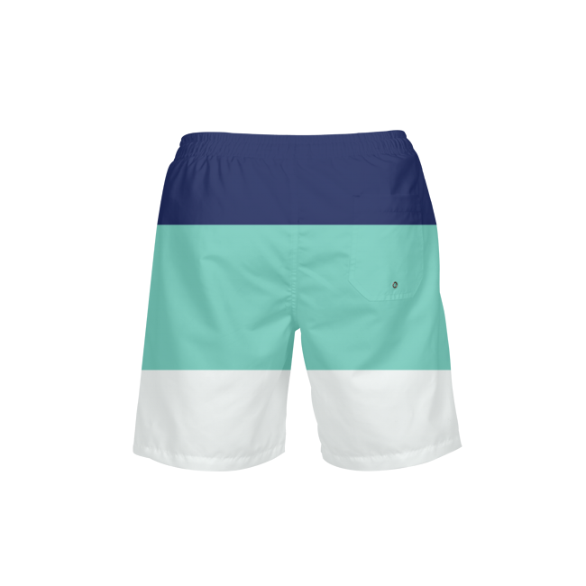 Men's FYC Classic Striped Teal Navy Beach Shorts UPF 40+ w/Lining - Find Your Coast Supply Co.