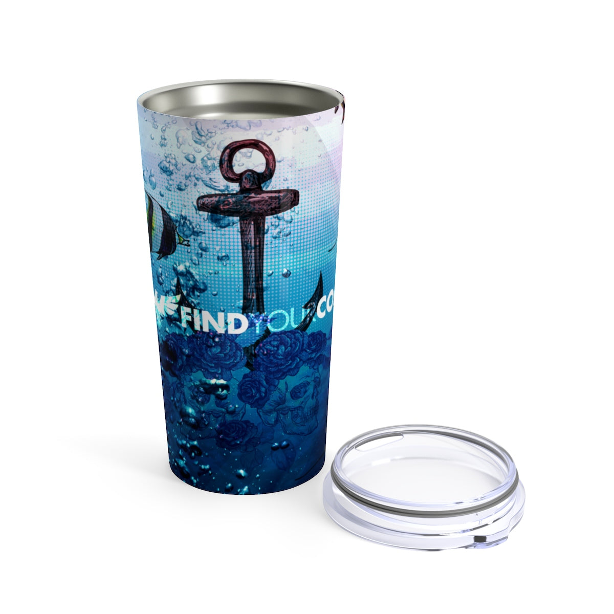 FYC 20 oz Stainless Steel Ocean Anchor/Skull Art Tumbler - Find Your Coast Brand
