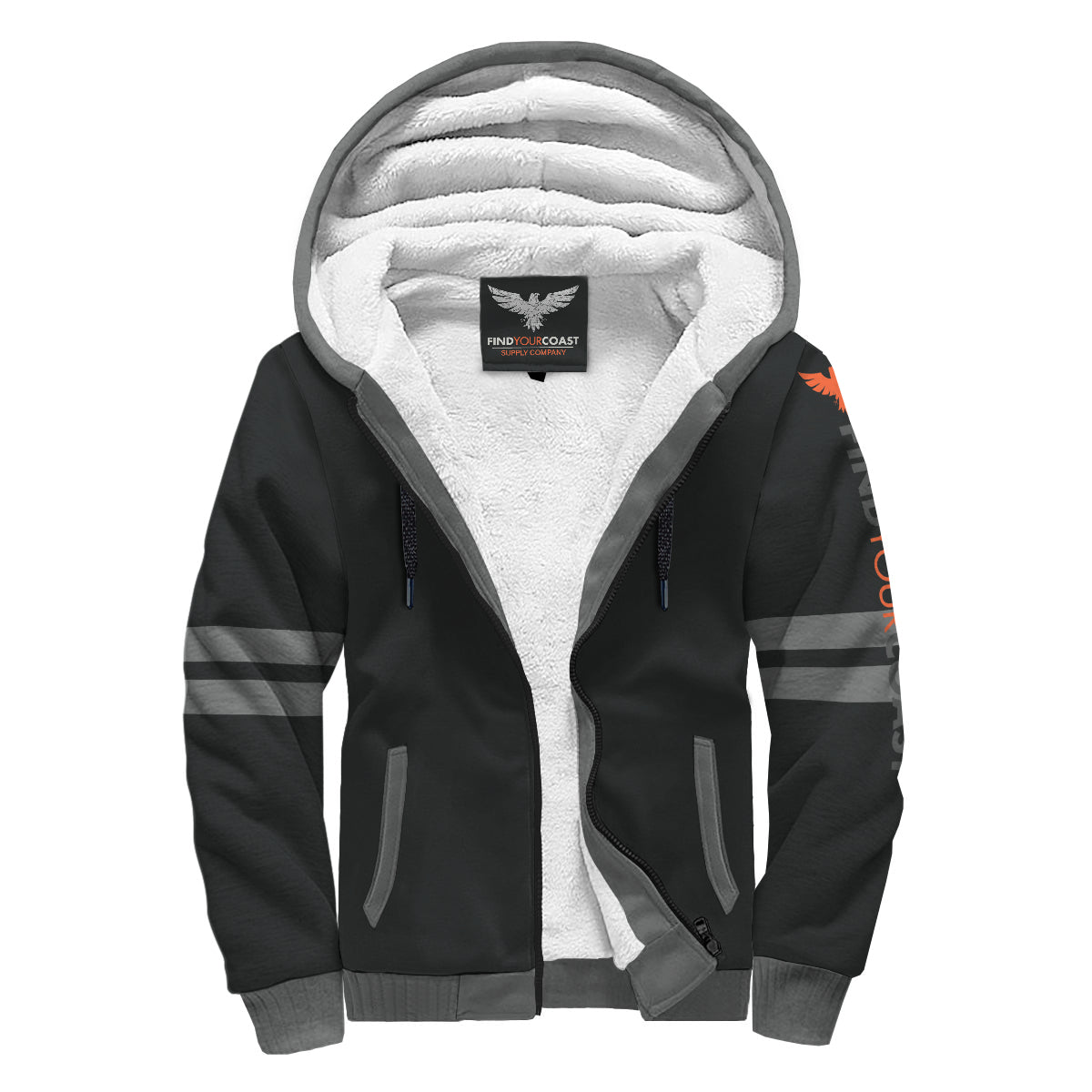 Find Your Coast Collegiate Stripe Sherpa Lined Zip Up Hoodie - Find Your Coast Supply Co.