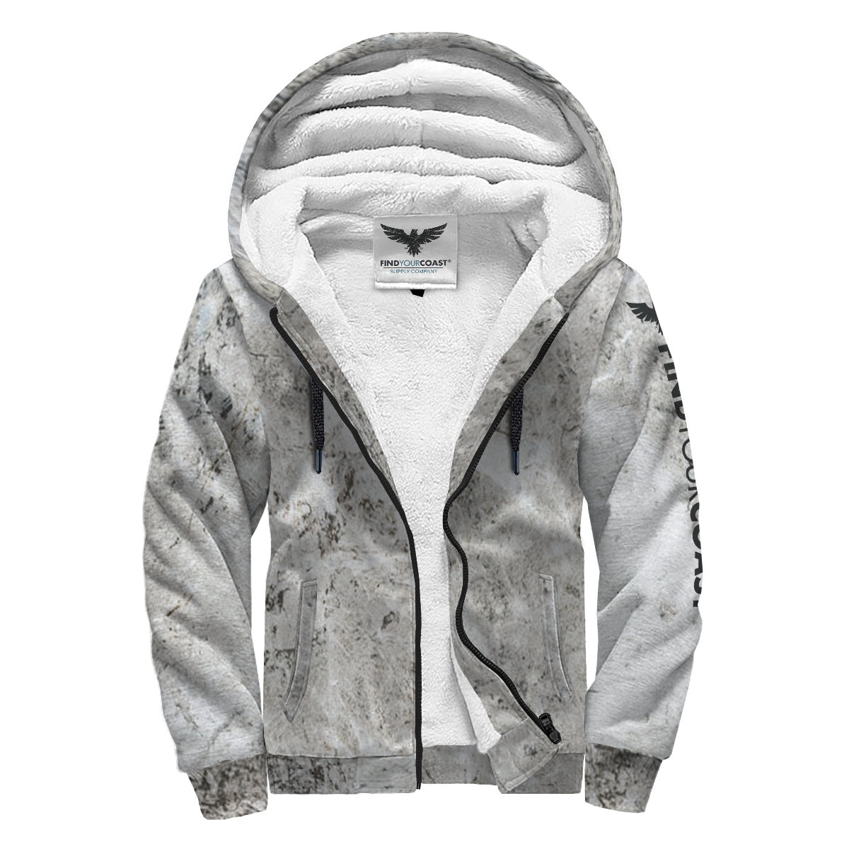 Find Your Coast Slate Sherpa Lined Zip Up Hoodie - Find Your Coast Supply Co.