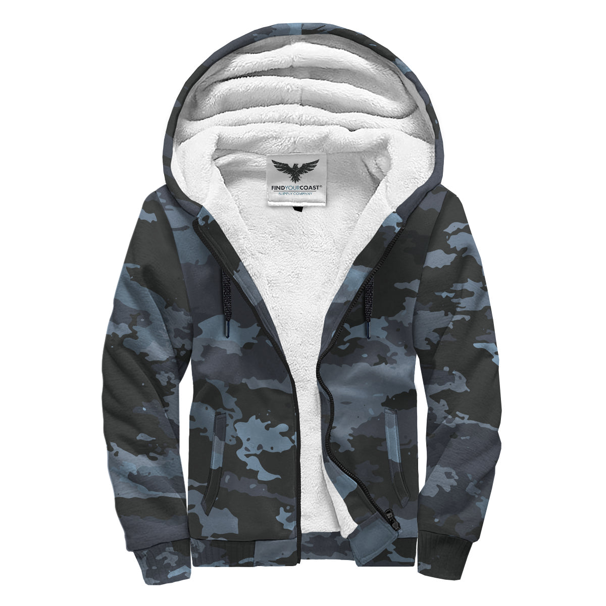 Find Your Coast 'Coast Camo' Sherpa Lined Zip Up Hoodie - Find Your Coast Supply Co.