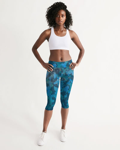 All Day Comfort Mid-Rise Ocean Camo Capri Leggings - Find Your Coast Supply Co.