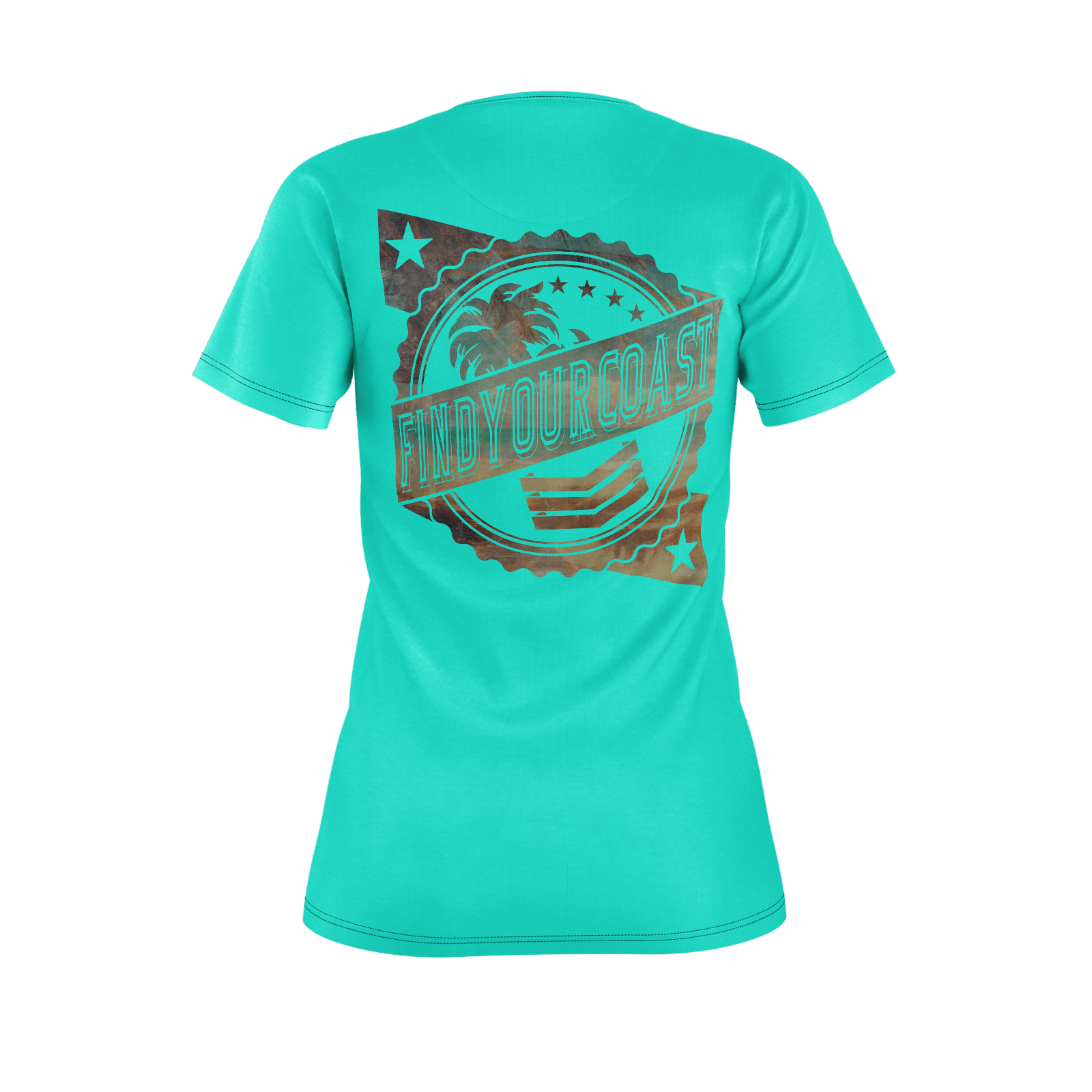 Women's Find Your Coast Sustainable Badge Teal Tee - Find Your Coast Supply Co.