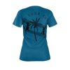 Women's Find Your Coast Sustainable Lizards and Palms Blue Tee Shirt - Find Your Coast Supply Co.