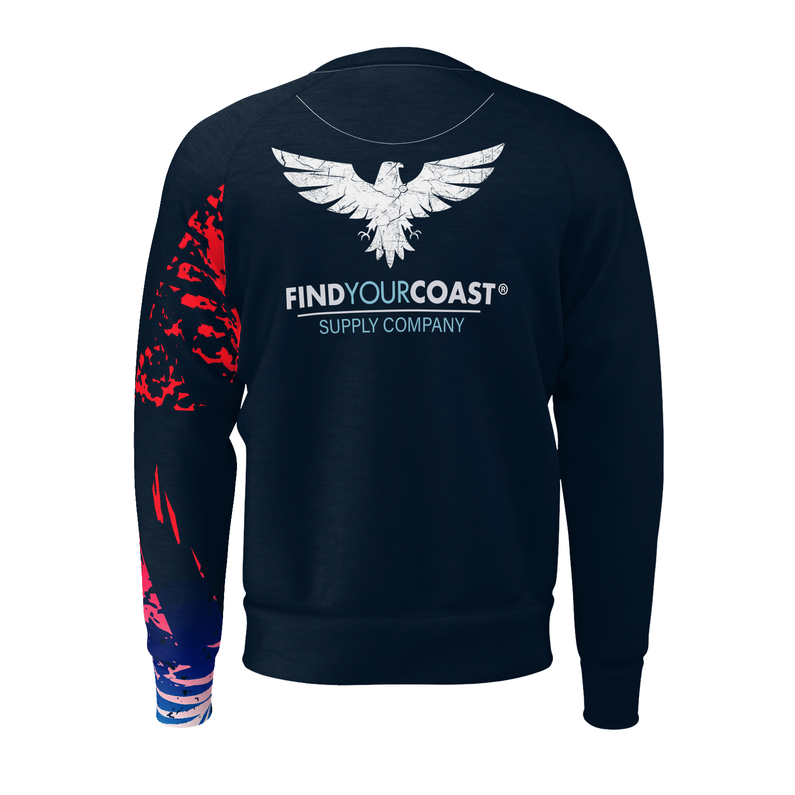 Men's Victory Sleeve Sustainable Navy Long Sleeve Raglan Sweatshirt - Find Your Coast Supply Co.