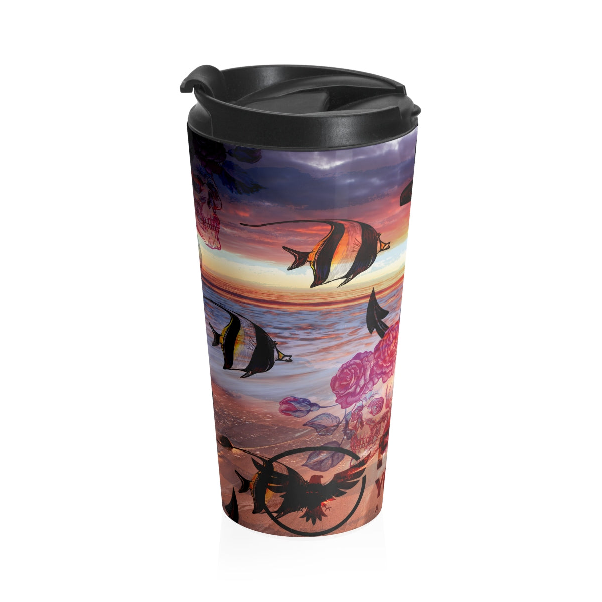 Skulls/Anchor/Beach Stainless Steel Travel Mug - Find Your Coast Supply Co.