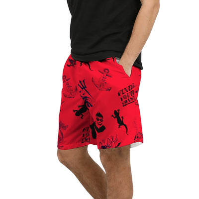 Men's Find Your Coast Red Parade Beach Shorts UPF 40+ w/Lining - Find Your Coast Brand