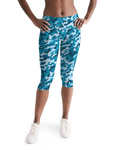 Women's Active Comfort Blue Camo Mid-Rise Capri Leggings - Find Your Coast Supply Co.