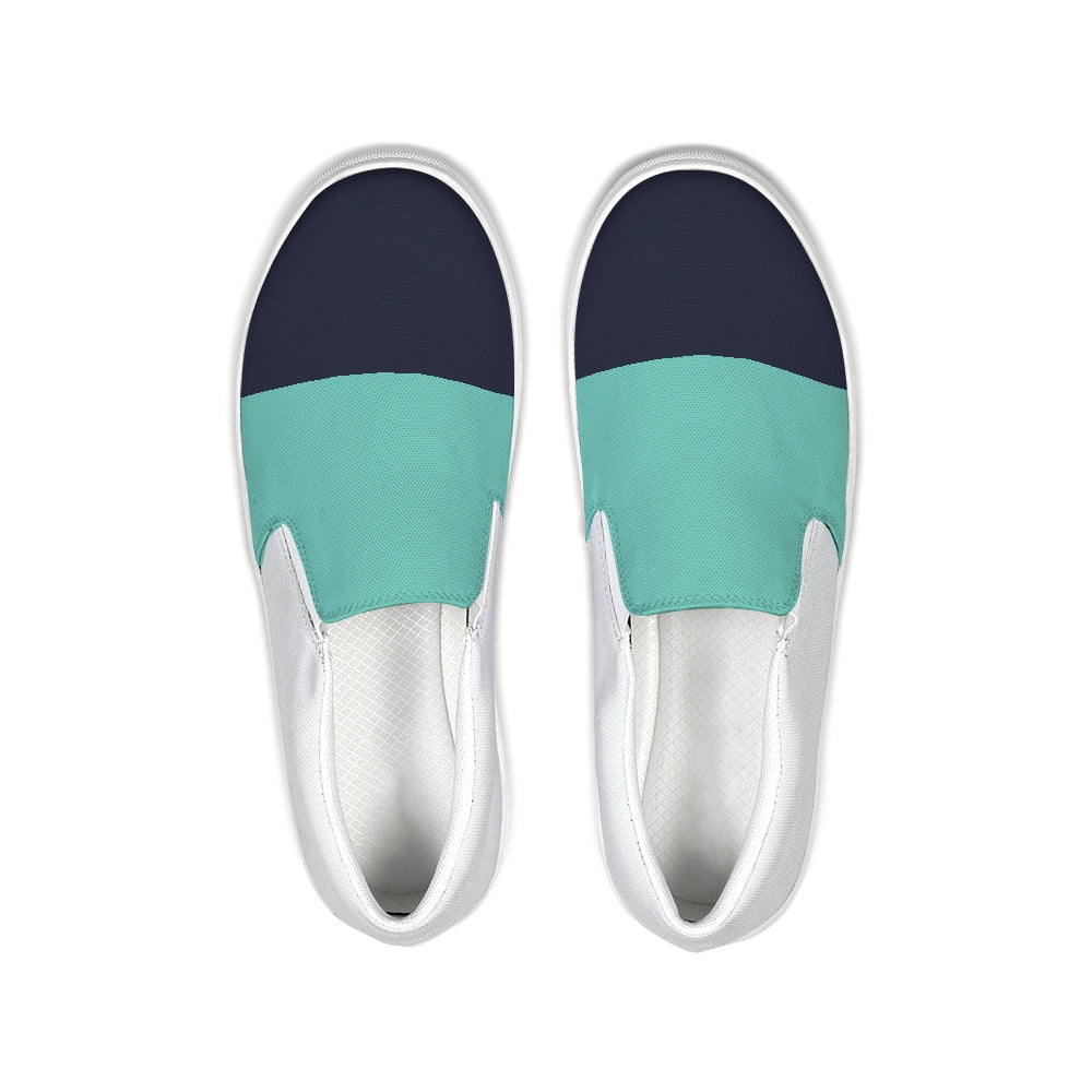 FYC Color Block Navy/Teal Canvas Slip-On Casual Shoes - Find Your Coast Supply Co.