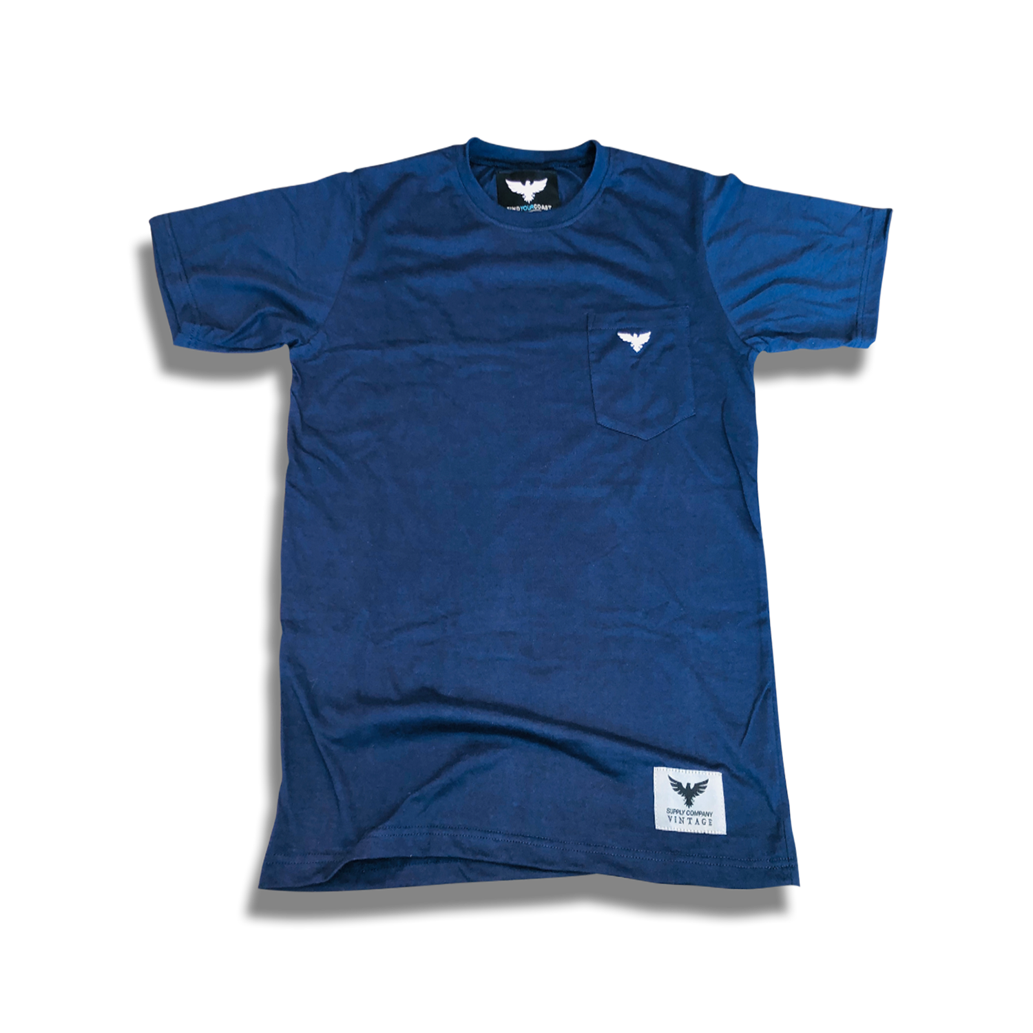 Men's FYC Vintage Venturer Premium Comfort Embroidered Navy Pocket Tees