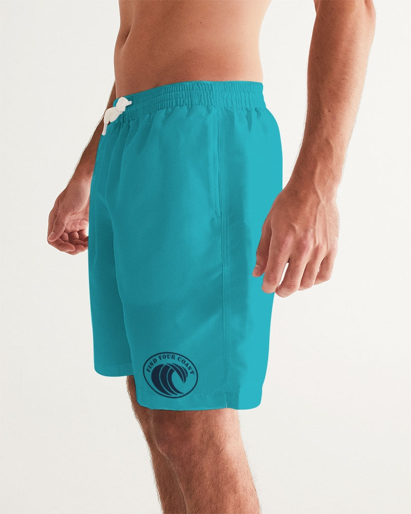Men's FYC Original Wave Teal Swim Shorts UPF 40 w/Lining - Find Your Coast Supply Co.