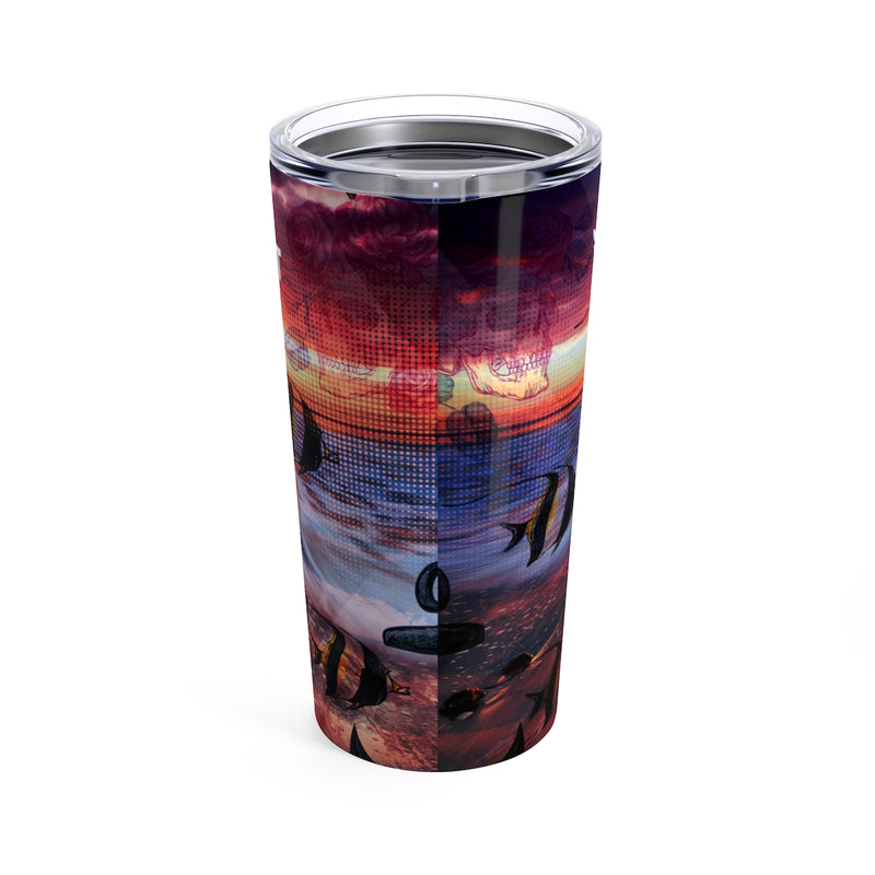 Find Your Coast 20 oz Stainless Steel Anchor/Skull Art Tumbler - Find Your Coast Brand
