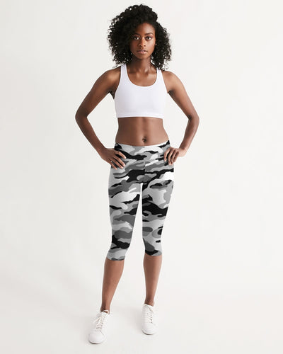Women's Active Comfort Black Camo Mid-Rise Capri Leggings - Find Your Coast Supply Co.