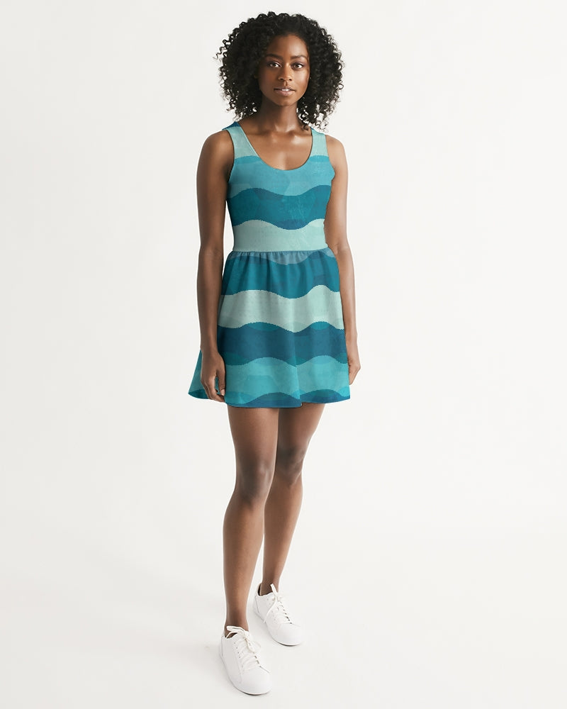 Women's Beaches Casual and Fun Scoop Neck Skater Dress - Find Your Coast Supply Co.