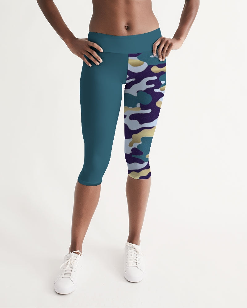 Women's Active Comfort Pacific Supply Camo Mid-Rise Capri Leggings - Find Your Coast Supply Co.