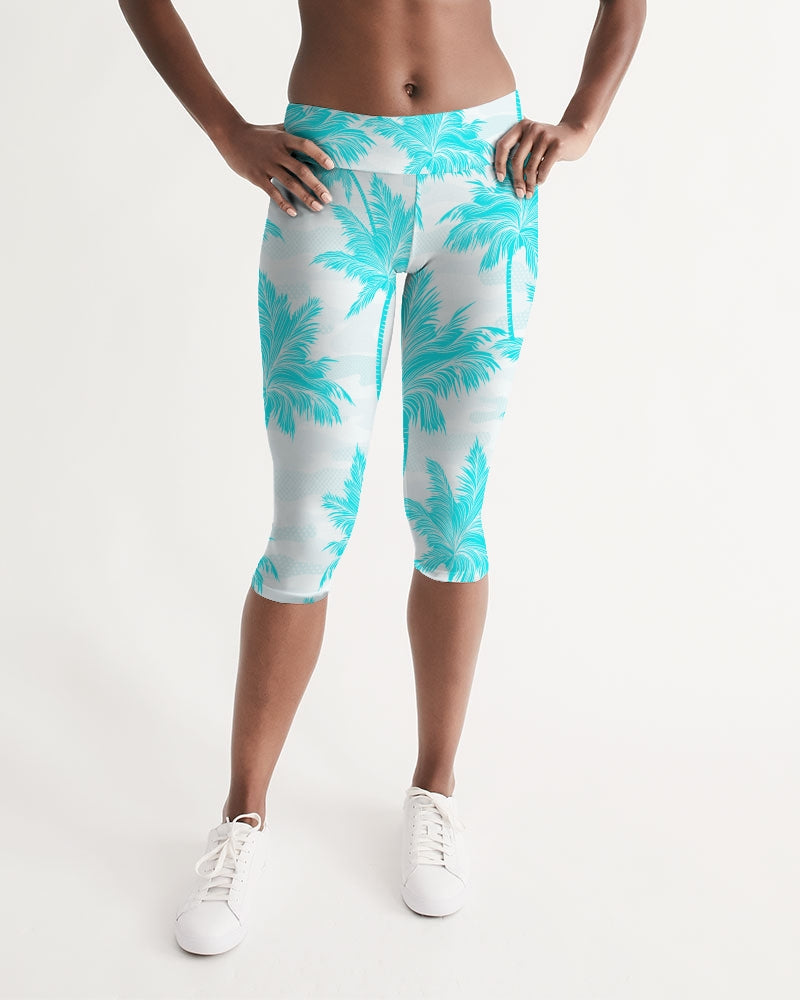 Women's Active Comfort Palm Club Mid-Rise Capri Leggings - Find Your Coast Supply Co.