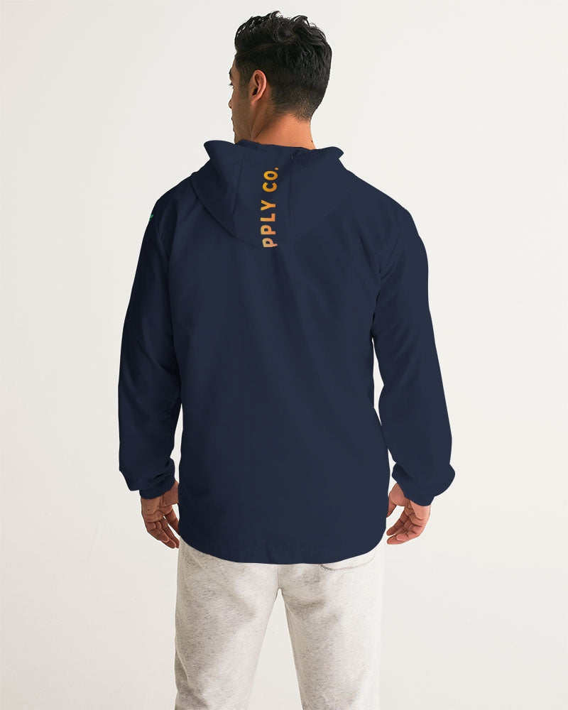 Men's FYC High Seas Navy Water Resistant Lightweight Hooded Windbreaker - Find Your Coast Supply Co.