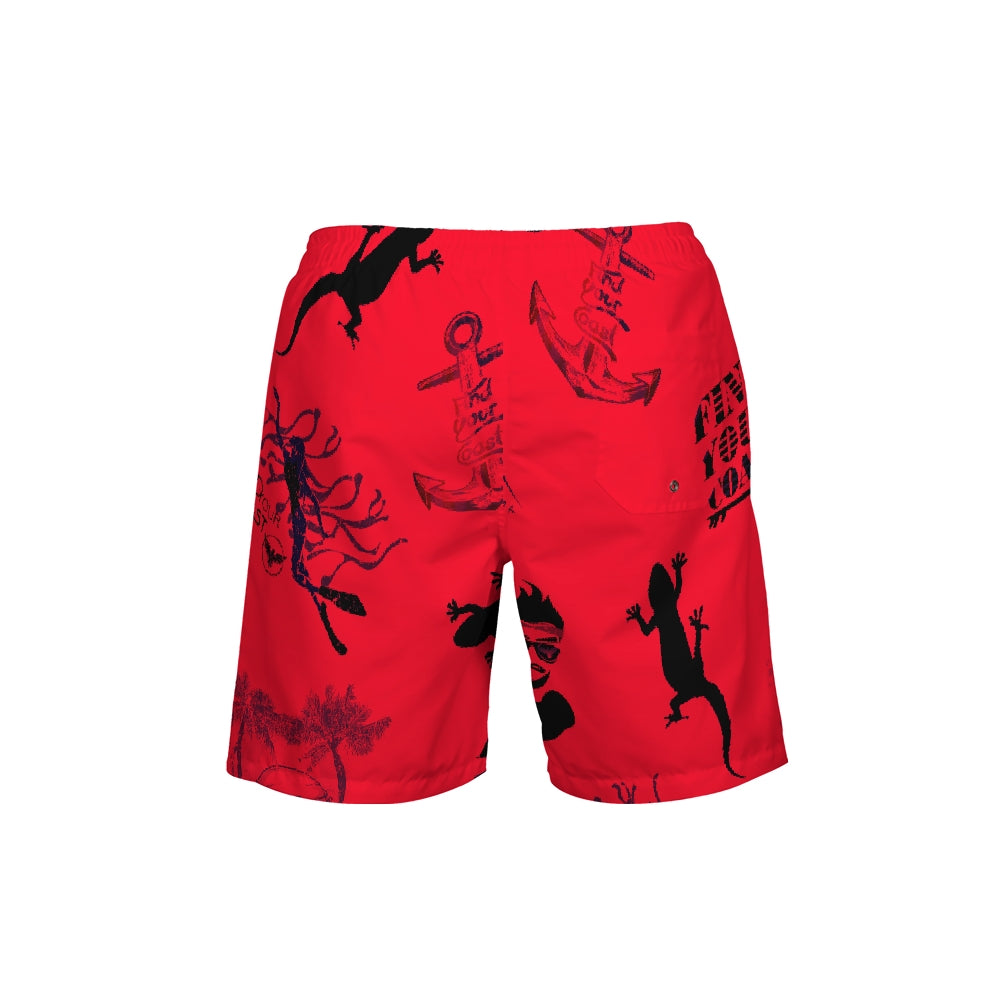 Men's FYC Red Parade Beach Shorts UPF 40+ w/Lining - Find Your Coast Supply Co.