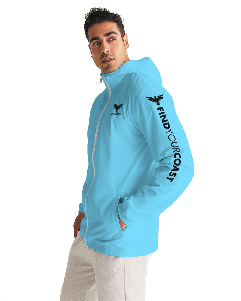 Men's FYC Supply Company Light Blue Water Resistant Lightweight Windbreaker - Find Your Coast Supply Co.