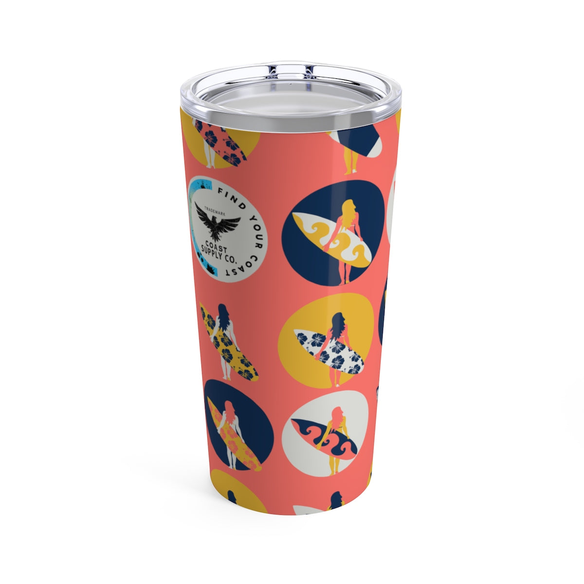 Find Your Coast 20 oz Stainless Steel Surfer Girl Art Stainless Steel Tumbler - Find Your Coast Supply Co.