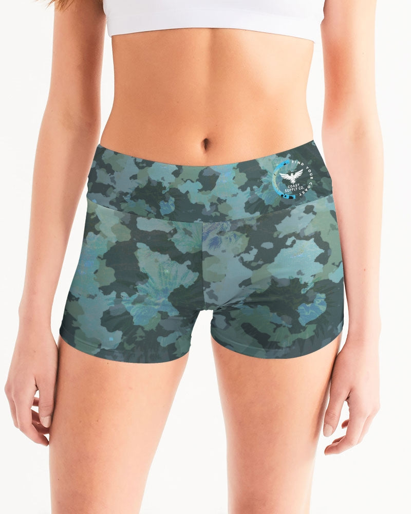 Women's Active Comfort OUR Outdoors Camo Mid-Rise Yoga Shorts - Find Your Coast Supply Co.