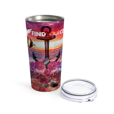Find Your Coast 20 oz Stainless Steel Anchor/Skull Art Tumbler - Find Your Coast Supply Co.