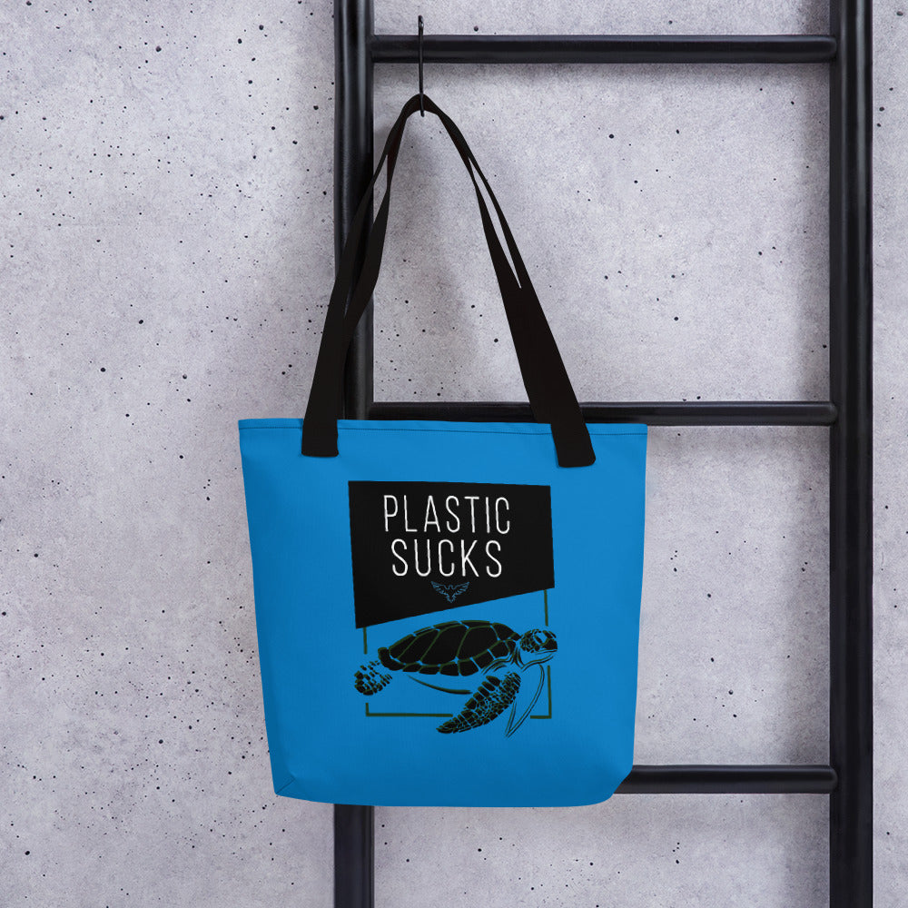 "FYC Sea Turtle Durable 15"" x 15"" Tote Bag w/Bull Denim Handles - Find Your Coast Supply Co."