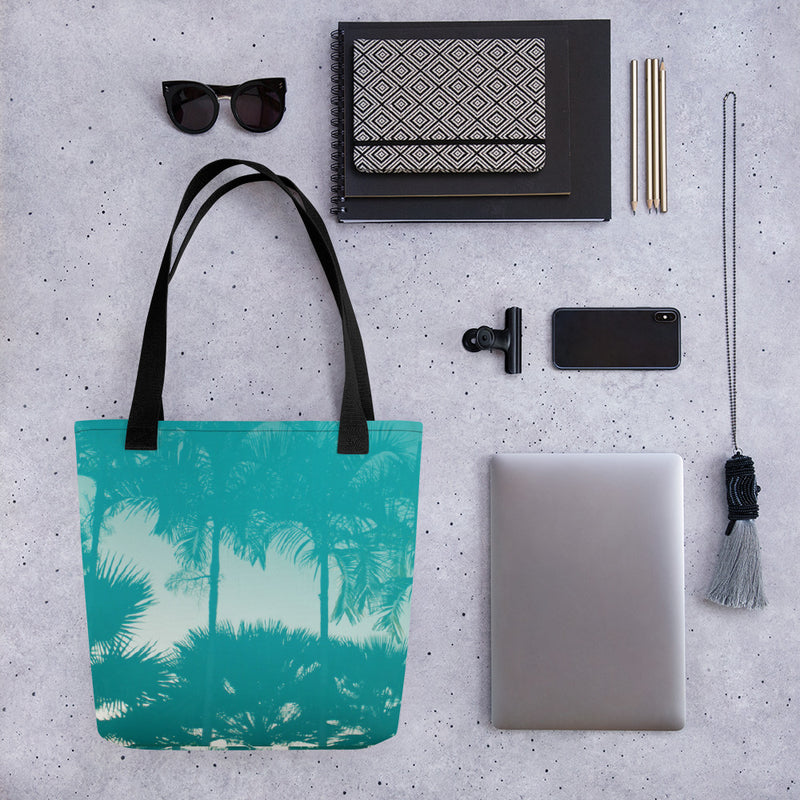 "FYC Palm Tree Durable 15"" x 15"" Tote Bag w/Bull Denim Handles - Find Your Coast Brand"