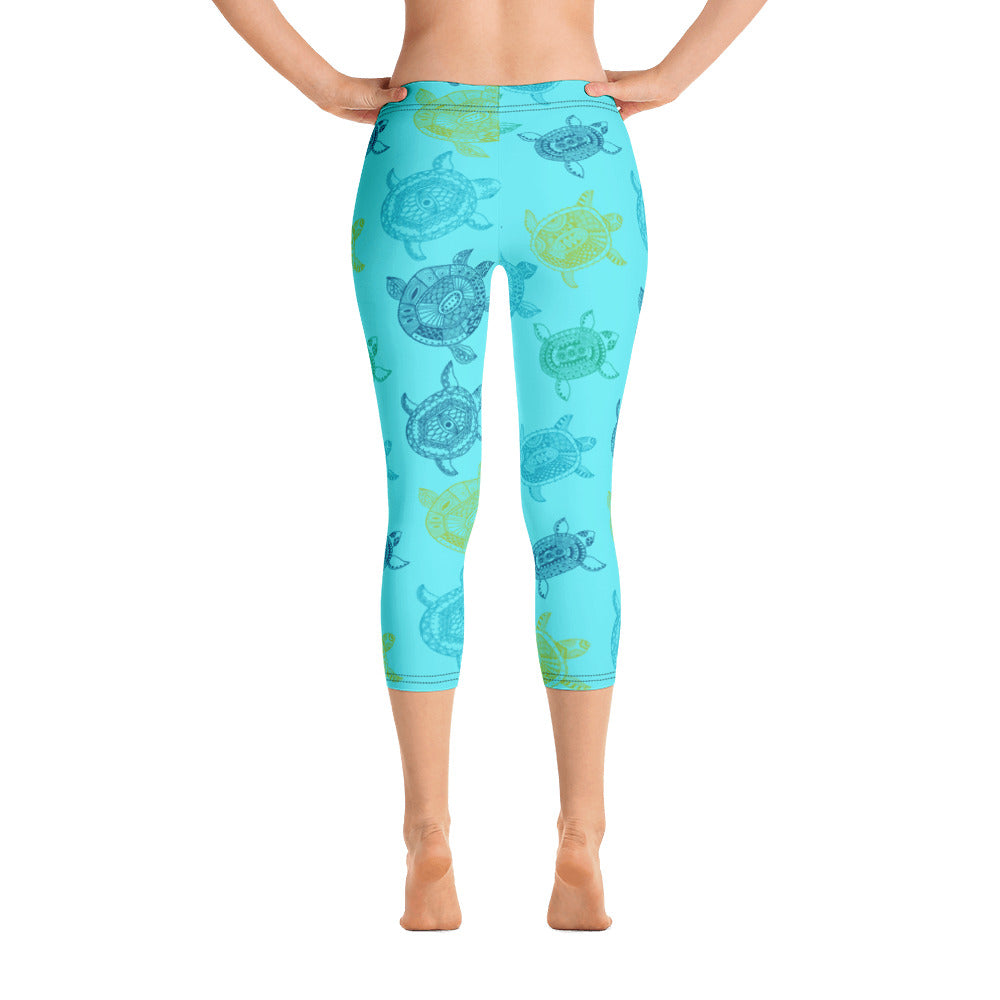 Women's All Day Comfort Light Blue Turtle Capri Leggings - Find Your Coast Supply Co.