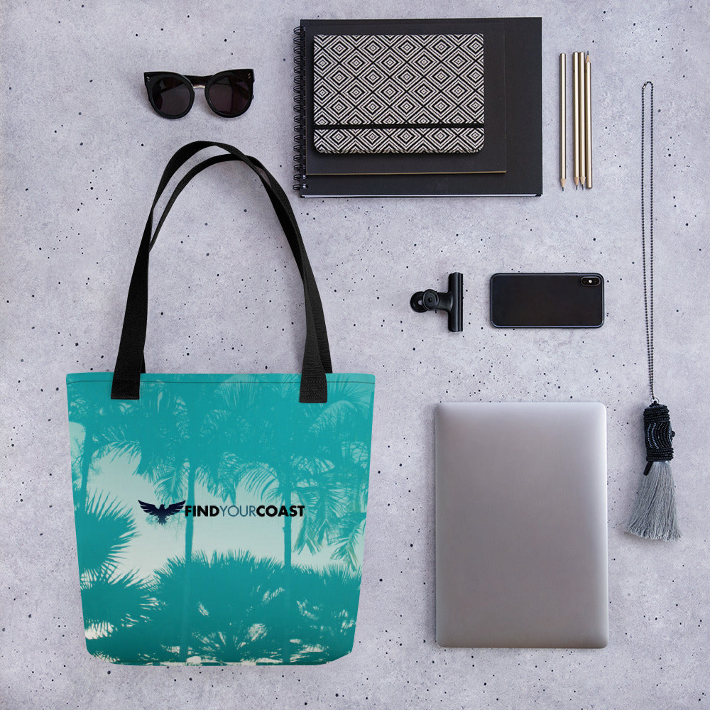 "FYC Palm Tree Durable 15"" x 15"" Tote Bag w/Bull Denim Handles - Find Your Coast Supply Co."