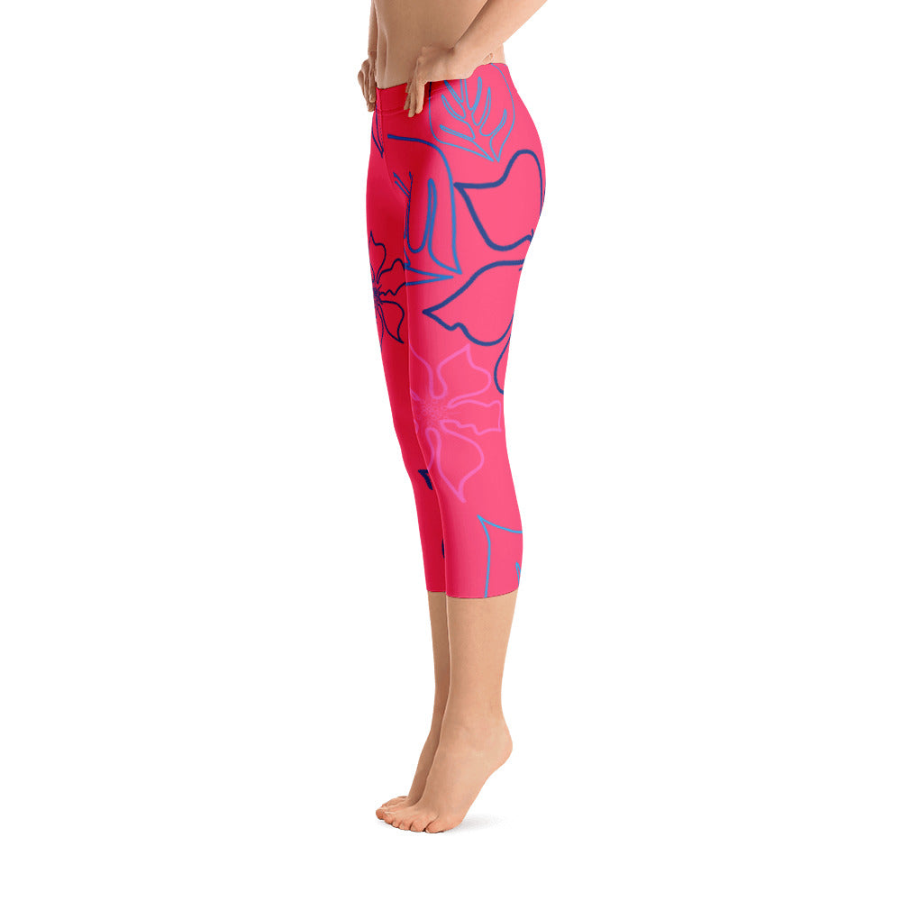 Women's All Day Comfort Red A L O H A Capri Leggings - Find Your Coast Supply Co.