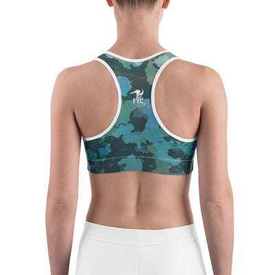 Women's Moisture Wicking O.U.R. Outdoors Sports Bra (white & black piping)