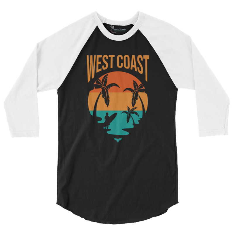 Men's West Coast 3/4 Sleeve Raglan Shirt - Find Your Coast Supply Co.