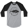 Men's Fishing Supply Co. 3/4 Sleeve Heather Grey/Black Raglan Shirt - Find Your Coast Supply Co.