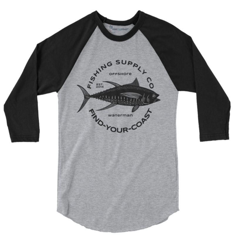 Men's Fishing Supply Co. 3/4 Sleeve Raglan Shirt - Find Your Coast Supply Co.